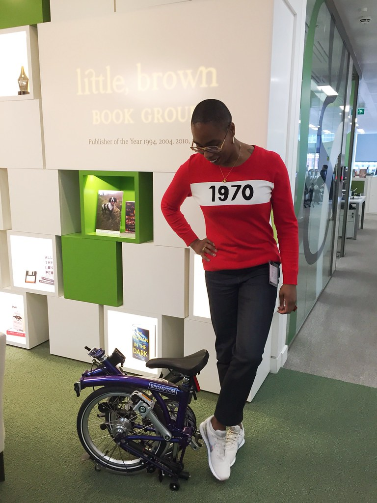 Jools Walker with her Brompton bicycle after cycling to Little, Brown Offices in London