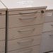 Grey three door desk high ped E50
