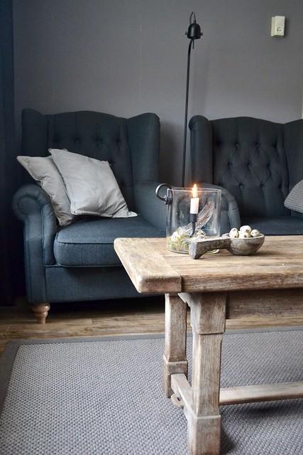 Landelijke fauteuils leeslamp salontafel