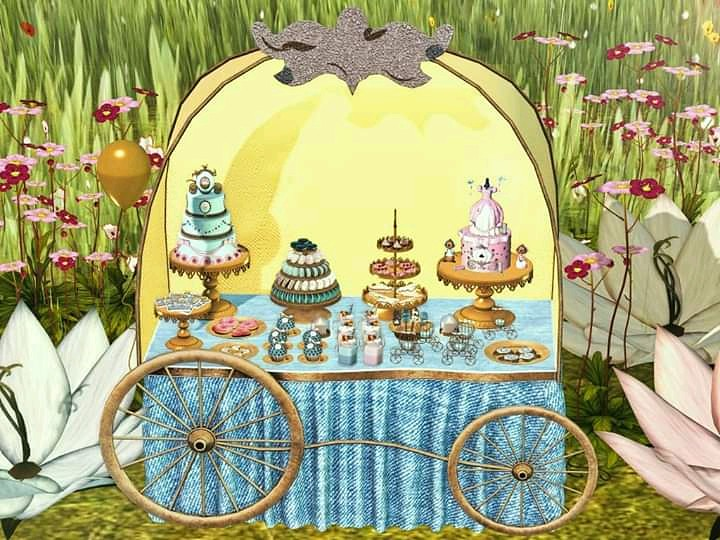 Aphrodite new Cinderella buffet! Original mesh, very low LI, fully animated with auto attach for foods & drinks and decos included. Copy & partially mod. Includes the sign for you to make your own. Only at Fantasy Fair Taxi: https://maps.secondlife.com/se