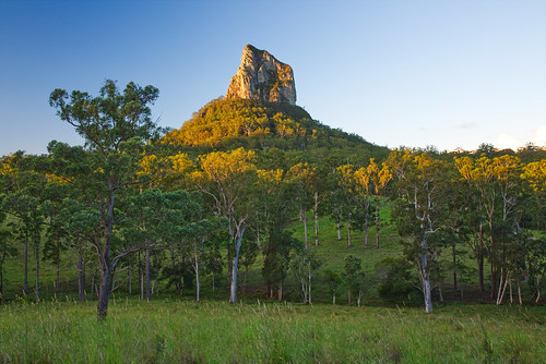 australia queensland sunshinecoast glasshousemountains landscape trees green sky sunset