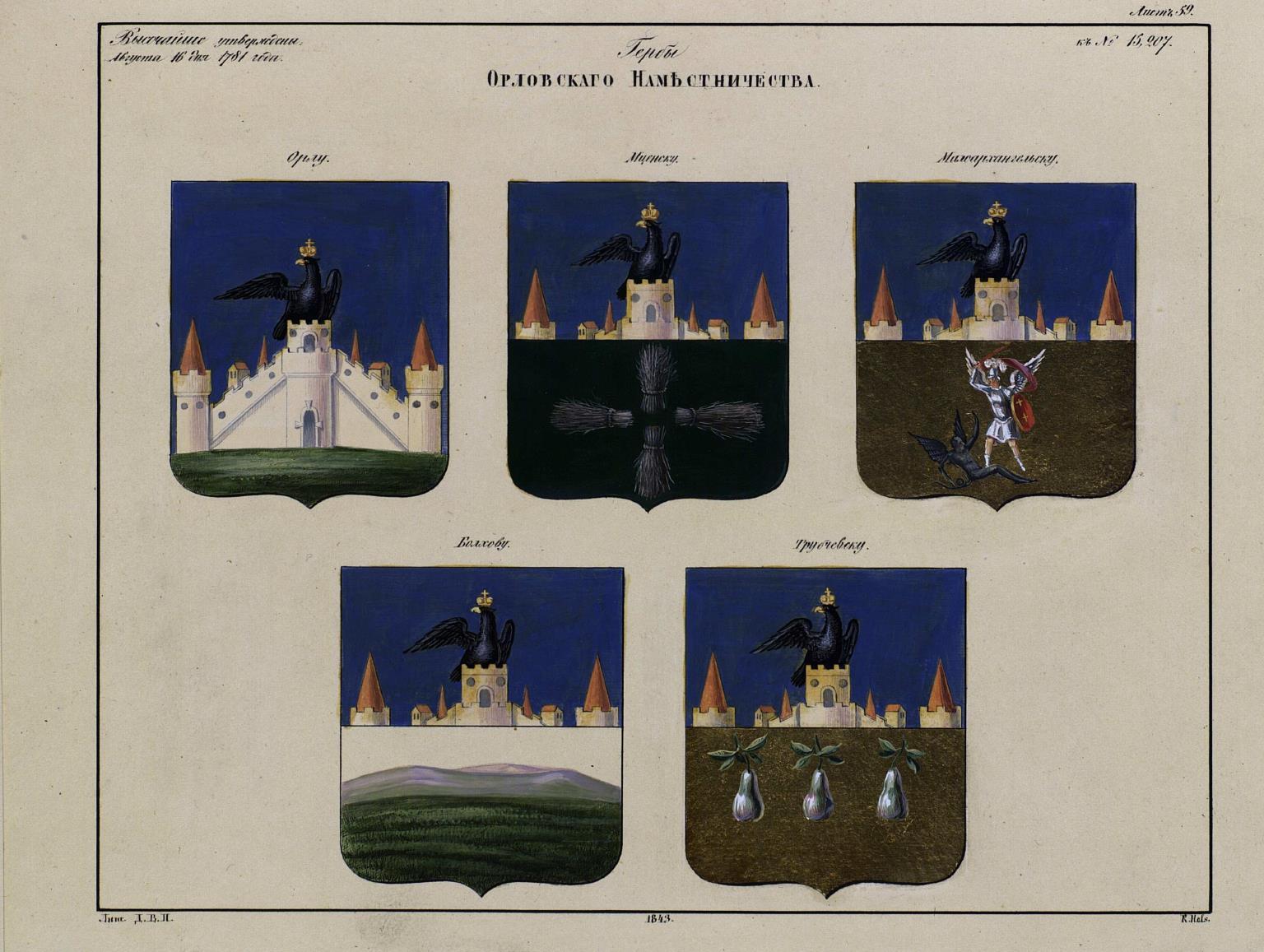 1843. Рисунки гербам городов Российской империи, принадлежащие к 1-му собранию законов. Часть 3