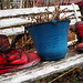 Red Boots, White Bench, Blue Pot
