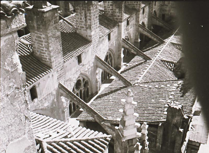 Arbotantes. Vista tomada desde las zonas superiores de la catedral en los años 60. Fotografía de Victoriano de Tena Sardón