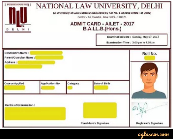 AILET 2019 Admit Card (Released) - Download at nludelhi.ac.in
