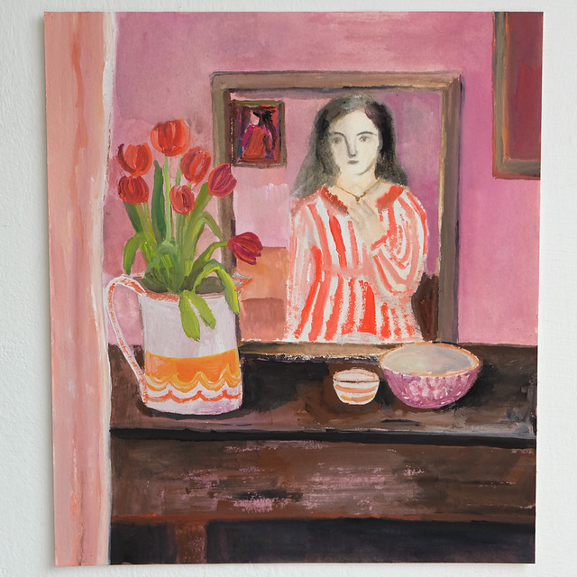 stripes in the mirror, with tulips