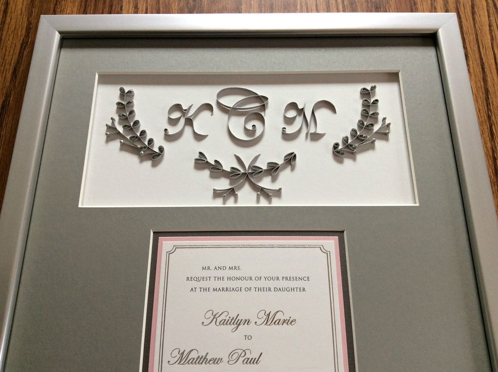 Quilled and Framed Wedding Invitation