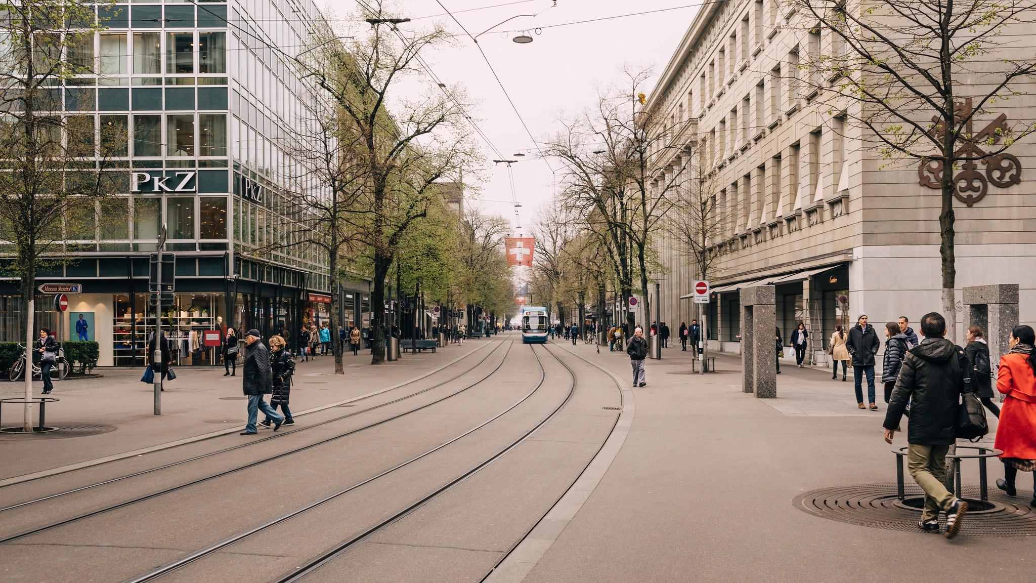 Looking down Bahnhofstrasse