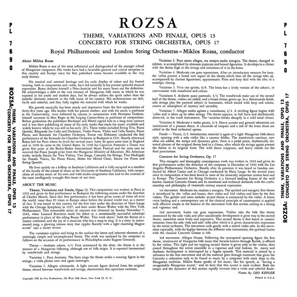 Miklós Rózsa - Theme, Variations And Finale