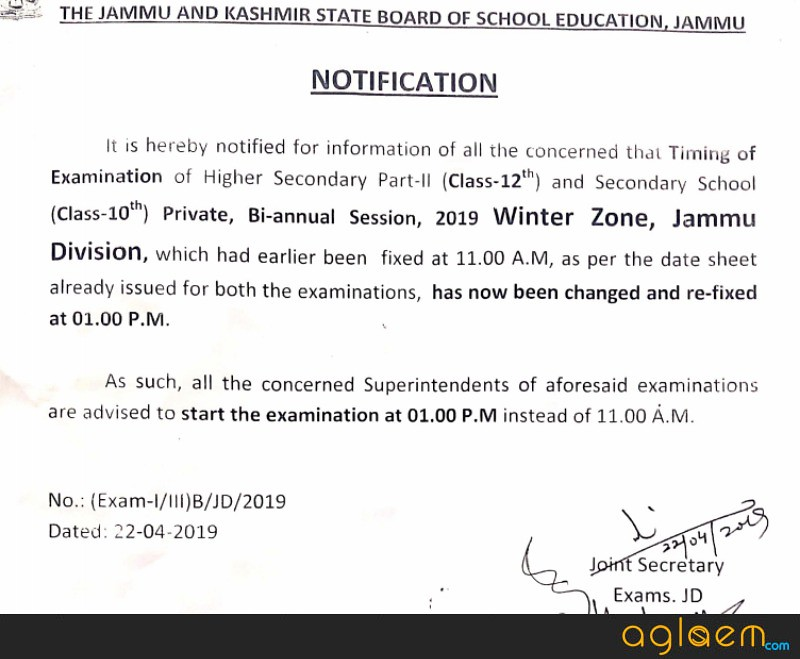 JKBOSE 10th Time Table 2019