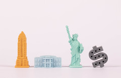 Empire State Building, White House, Statue of Liberty and Dollar symbol