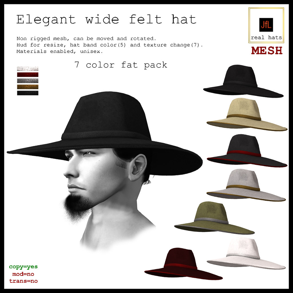 JfL Elegant wide felt hat fat pack