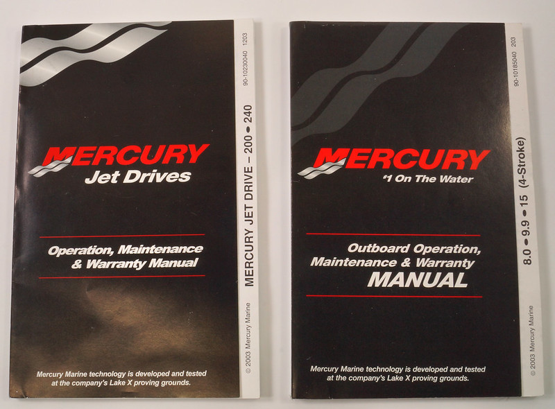 RD19782 2 Mercury Outboard Operation & Maintenance Manuals 200-240, 8.0-9.9-15 Plus Other Booklets DSC00733