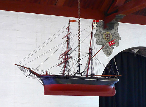Boat in the church at Stevns Klint in Denmark
