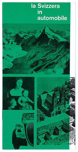 Front cover of La Svizzera in automobile, a prospectus for Swiss tourism, 1954. It was designed while Moll was working at Studio Boggeri, Milan, Italy.