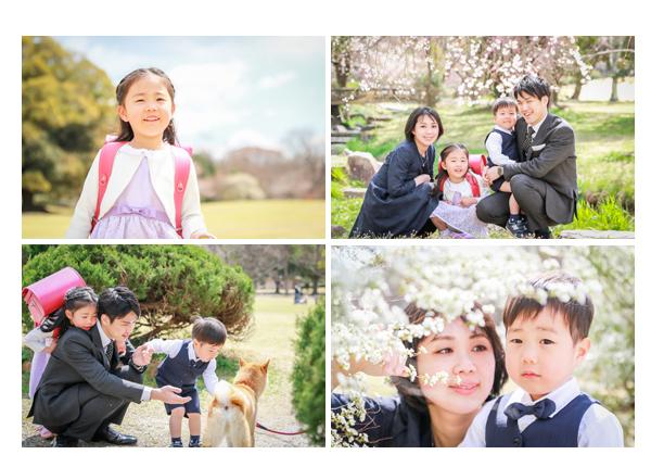 桜の咲く春 公園で小学校入学記念のファミリーフォト