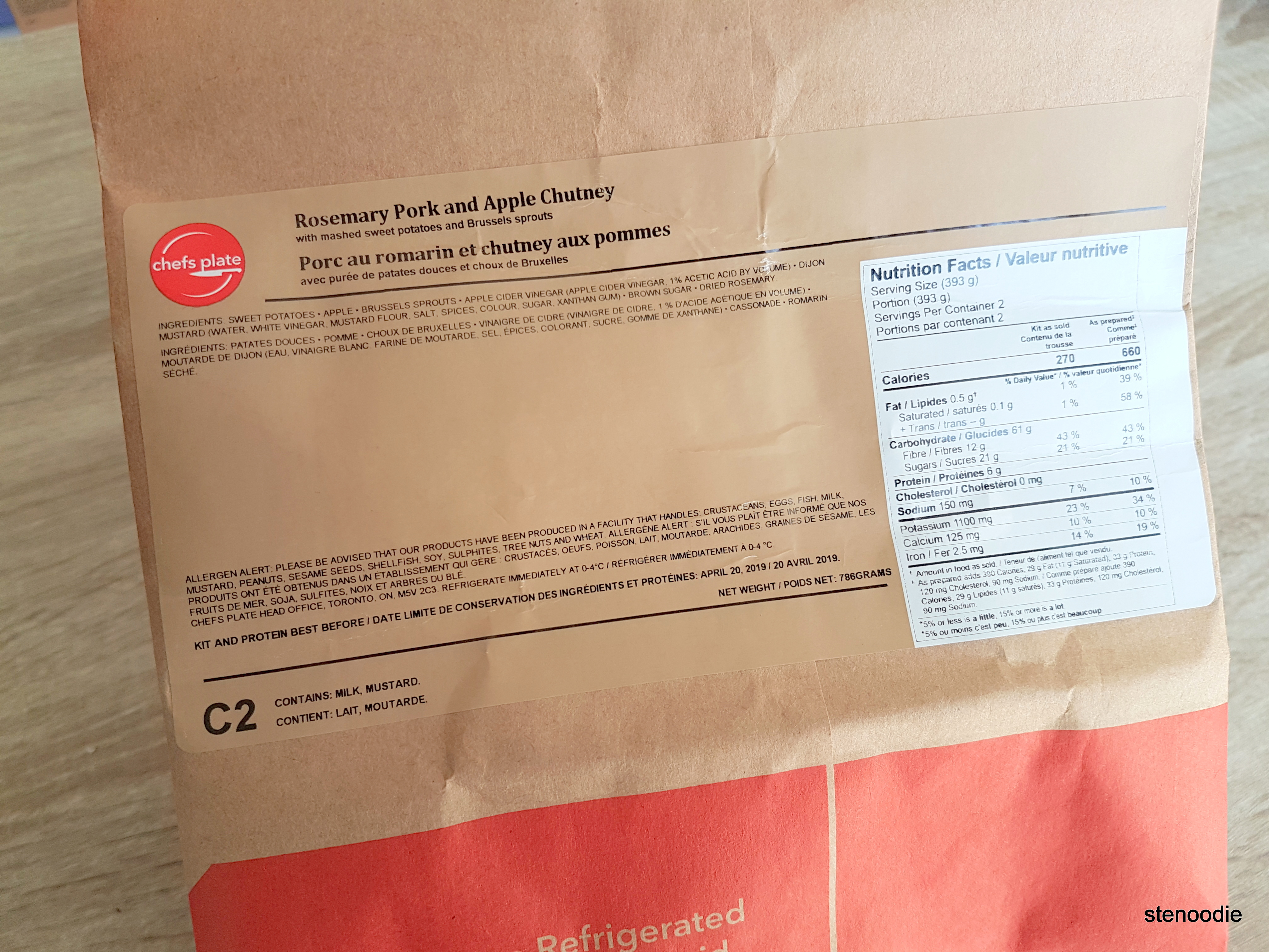 Nutrition facts for Rosemary Pork and Apple Chutney