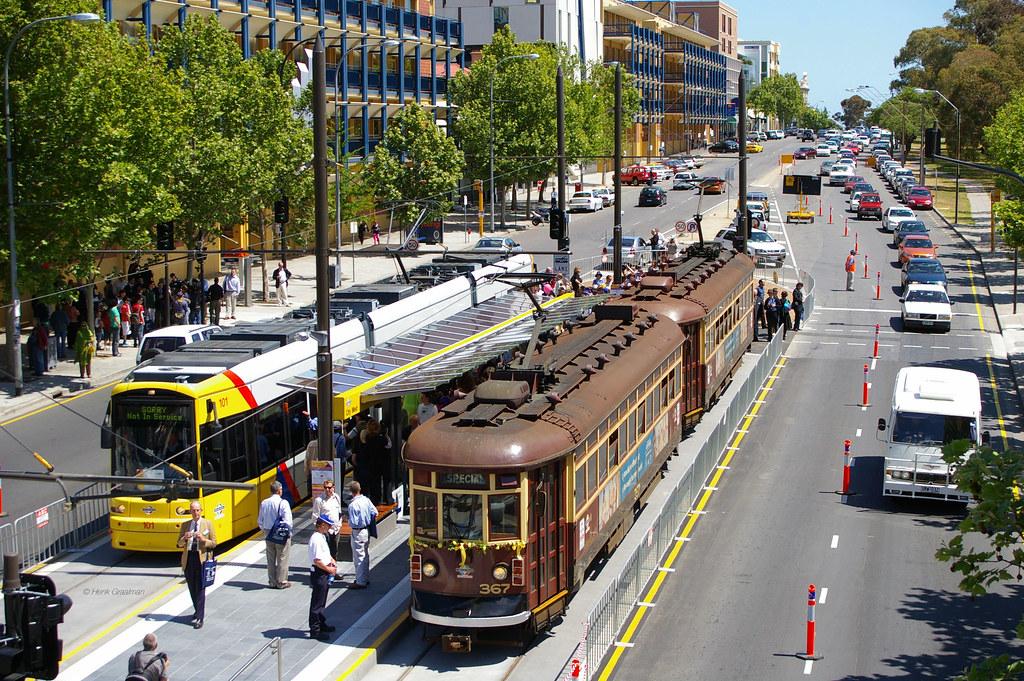 Adelaide Metro maiden voyage trams North Terrace by Henk Graalman