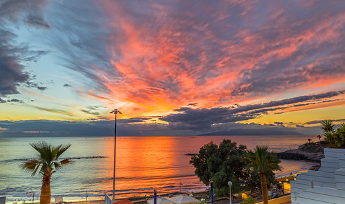 tenerife costaadeje lagomera travel sunset sea cloud palm streetlight reflection