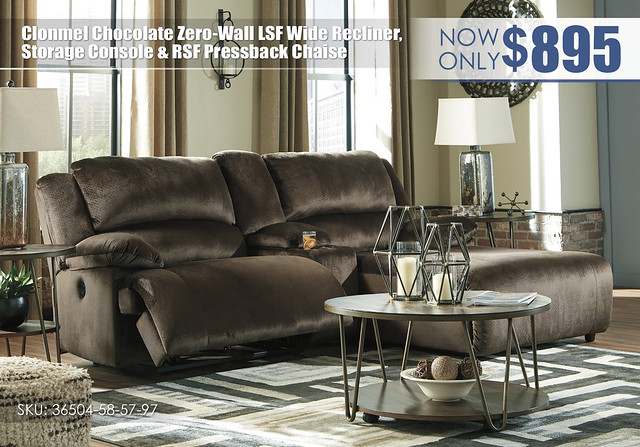 Clonmel Chocolate Zero Wall Wide Recliner Storage Console & RSF Chaise_36504-58-57-97-T395