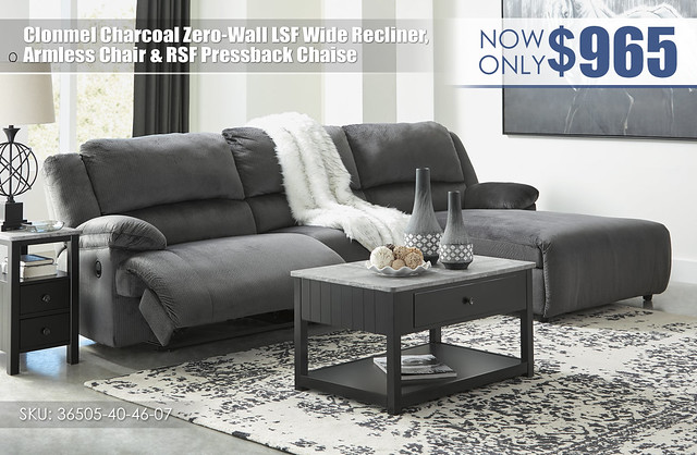 Clonmel Charcoal_Zero Wall Wide Recliner_Armless Chair_RSF Pressback Chaise_36505-40-46-07