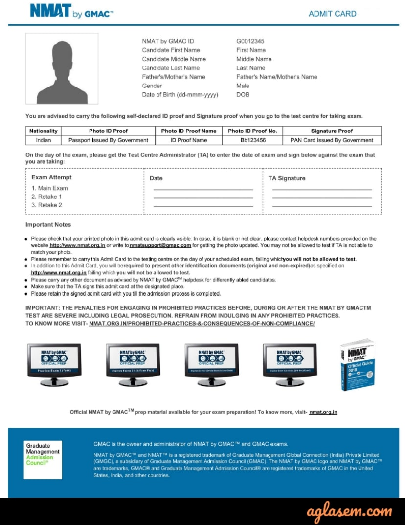 NMAT 2019 Admit Card