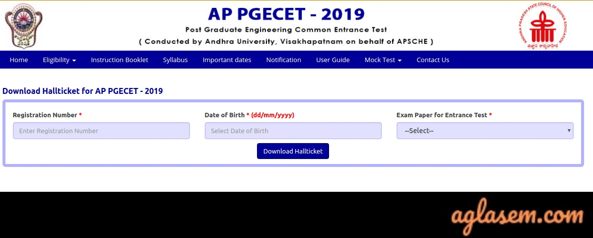 AP PGECET 2019 Hall Ticket