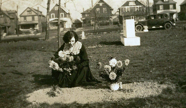 Flowers on a New Grave, Paper Print, Circa 1920