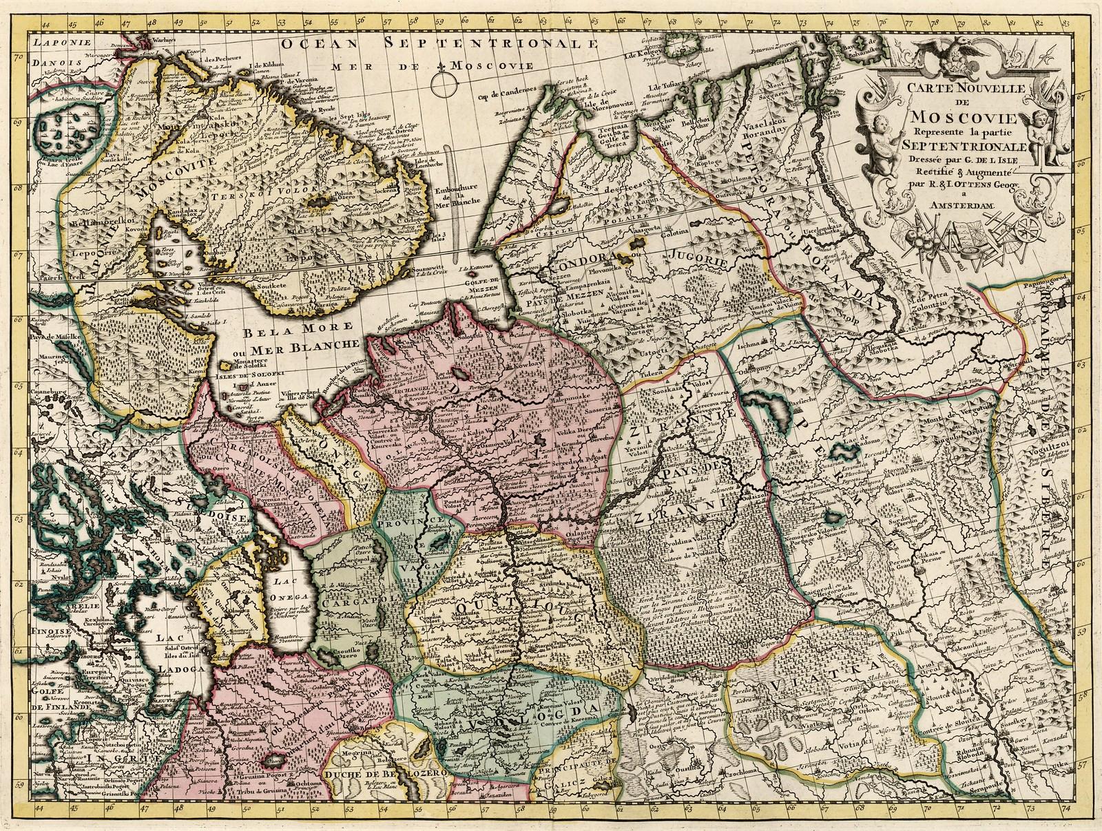 1740. Новая карта Московии представляет северную часть страны