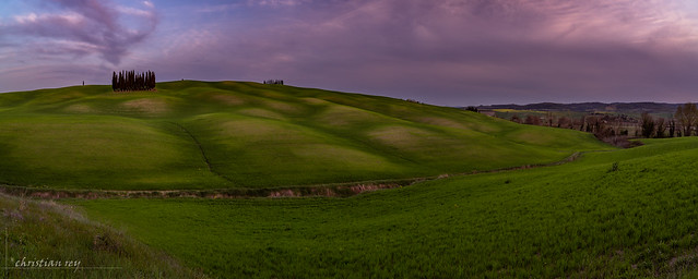 Evening ligths on the hills of Val d'Orcia (Italy)