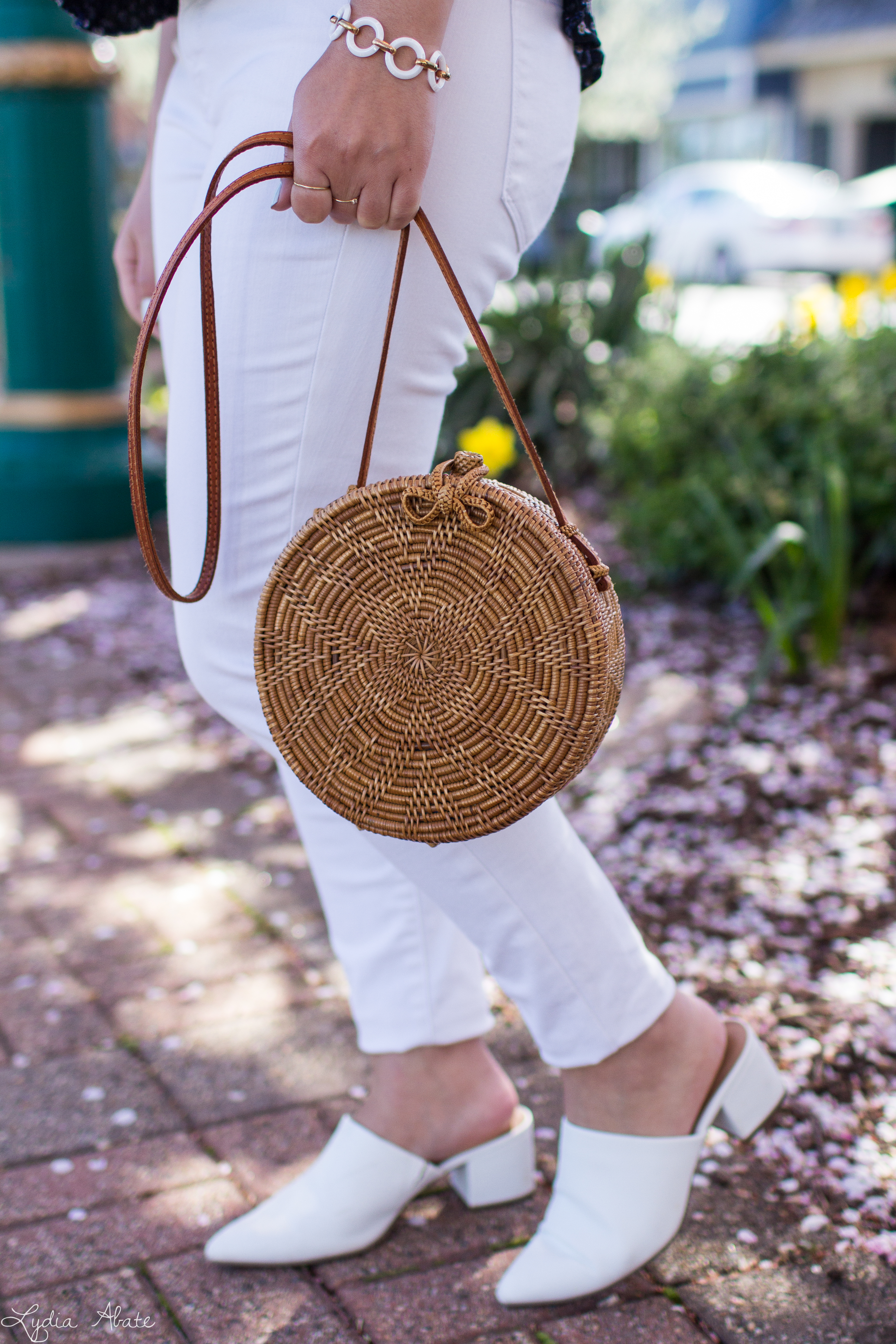 navy floral blouse, white jeans, mules, round rattan bag-9.jpg