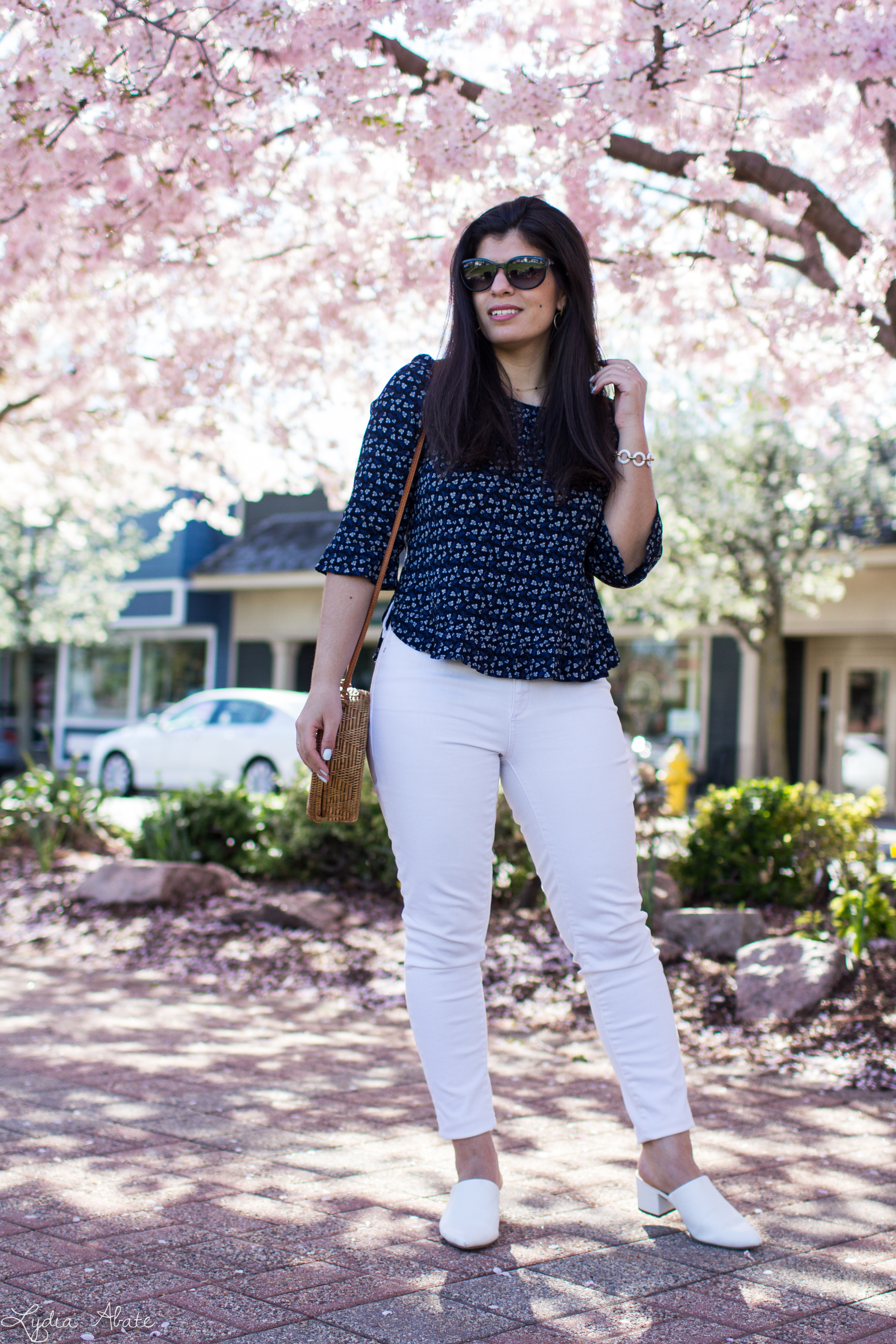 navy floral blouse, white jeans, mules, round rattan bag-11.jpg