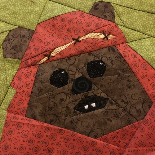 Wicket the Ewok (WITH embroidery) for the Fandom in Stitches Star Wars Quilt Pattern Design Challenge the Sequel. Designed 04/24/2019