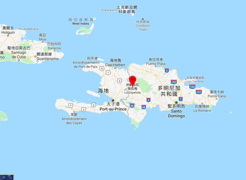 艾斯班紐拉島,今海地、多明尼加二國所在之島嶼。圖片截至google地圖。
