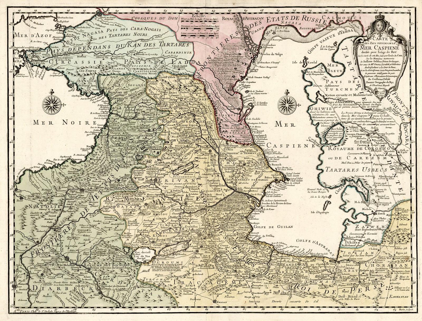 1723. Карта соседних стран Каспийского моря, Гийом л'Иль, Париж.