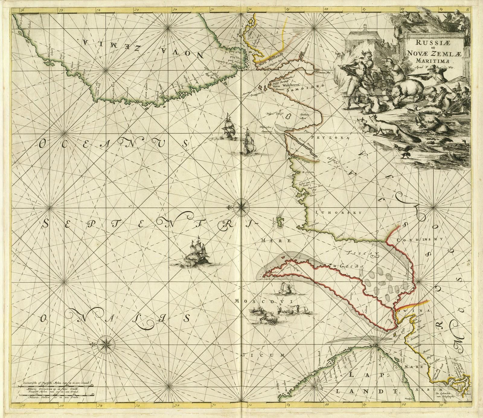 1660. Россия и побережье Новой Земли, Фредерик де Витт, Амстердам