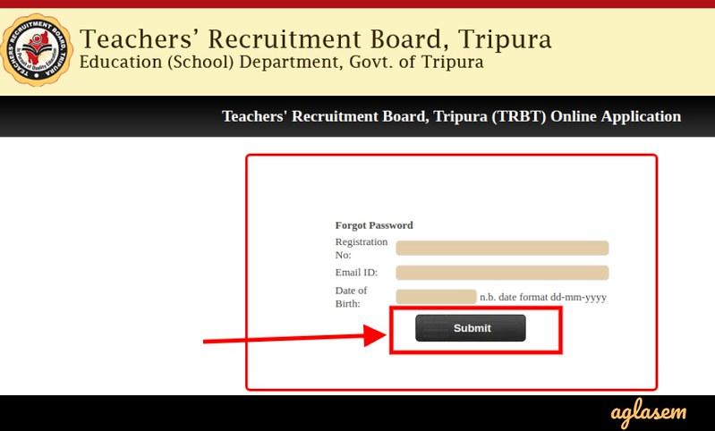 TRB Tripura STPGT 2019 - Forgot Password