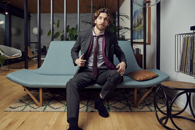 Danish Design and furniture with man in suit