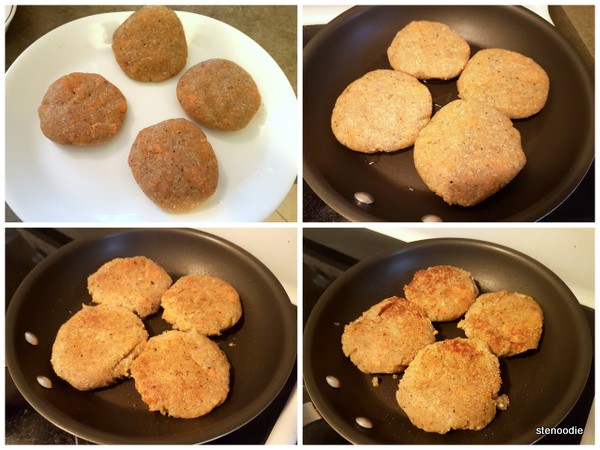 cooking quinoa and sweet potato patties