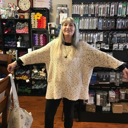 """Debbie loves her """"Sally's Favorite Summer Sweater"""" from Sally Melville's The Knit Stitch"""