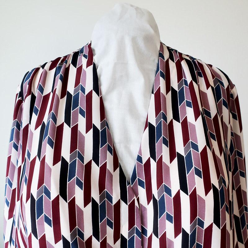 Silk blouse front neckline