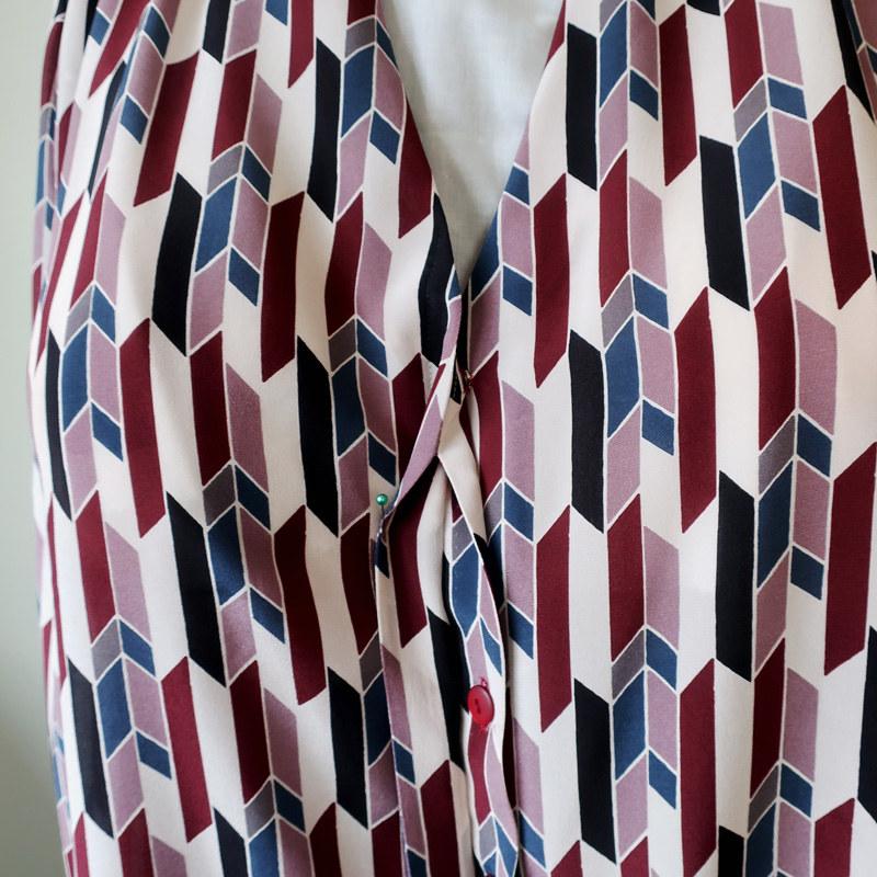 Silk blouse hidden buttonhole