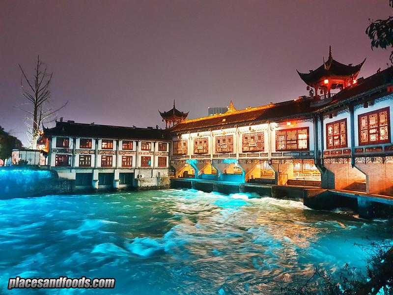 china Du Jiang Yan city night river