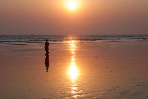 beach people coxsbazar chittagong bangladesh sunset