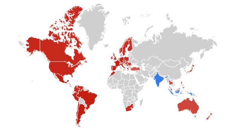 只有三個國家(印度、印尼、阿拉伯聯合大公國)搜尋斯里蘭卡爆炸案的次數高於聖母院大火。(圖片來源:Google Trends)