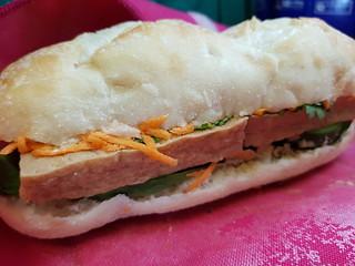 Easy Banh Mi - Japanese Tofu, Tartex Shiitake Pate, spinach, grated carrot, mayo