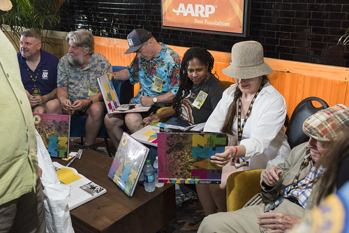 Dave Ankers, Jeff Place, Huib Schippers, Karen Celestan, Rachel Lyons, and George Wein at Jazz Fest day 3 on April 27, 2019. Photo by Ryan Hodgson-Rigsbee RHRphoto.com