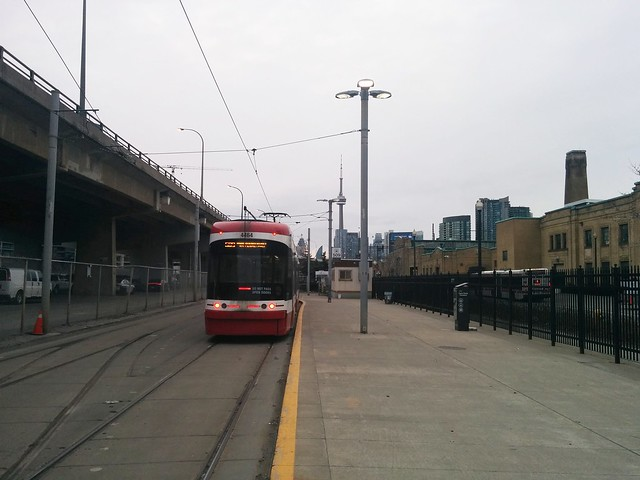 Walking towards the 509 Harbourfront streetcar, eastbound #toronto #exhibitionloop #509harbourfront #streetcars #morning #cntower #skyline