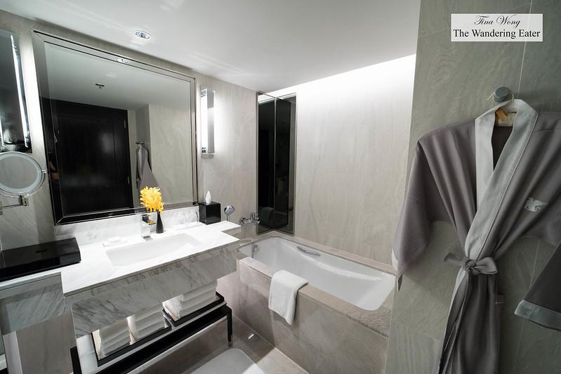 Spacious marble bathroom of my 1 bedroom suite