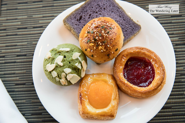 Plate of pastries and unique Japanese style bread at at Up & Above